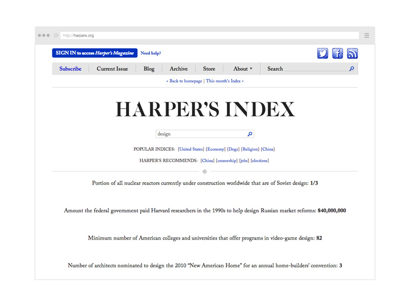 Point Five Harpers Index website