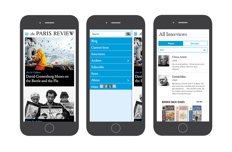 Point Five The Paris Review mobile website
